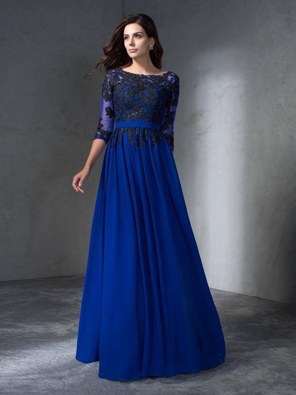 Floor-Length A-Line/Princess Scoop 3/4 Sleeves Applique Chiffon Dresses