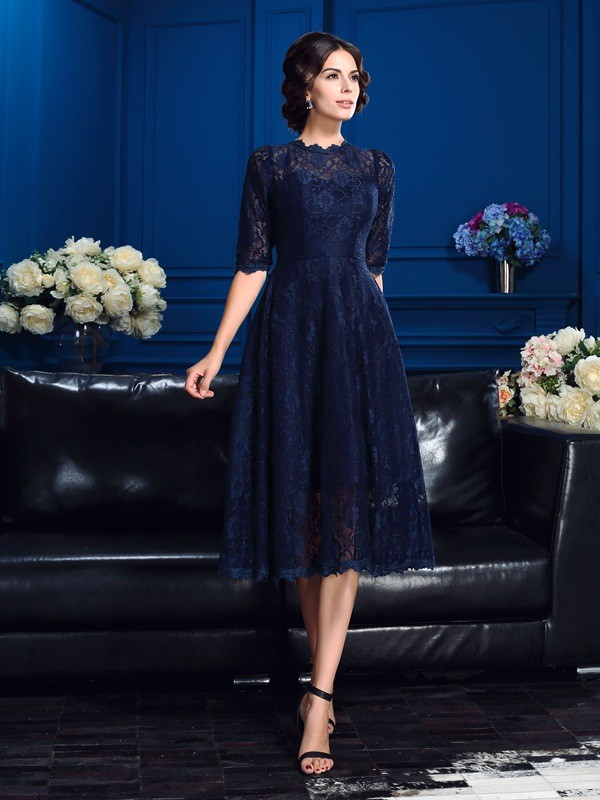 Knee-Length A-Line/Princess Jewel 1/2 Sleeves Lace Mother of the Bride Dresses
