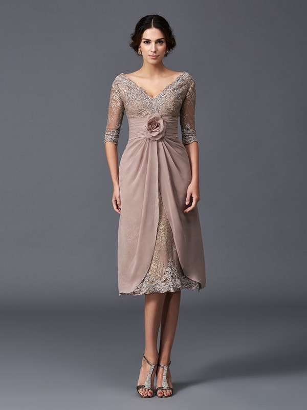 Tea-Length A-Line/Princess V-neck 1/2 Sleeves Hand-Made Flower Lace Mother of the Bride Dresses