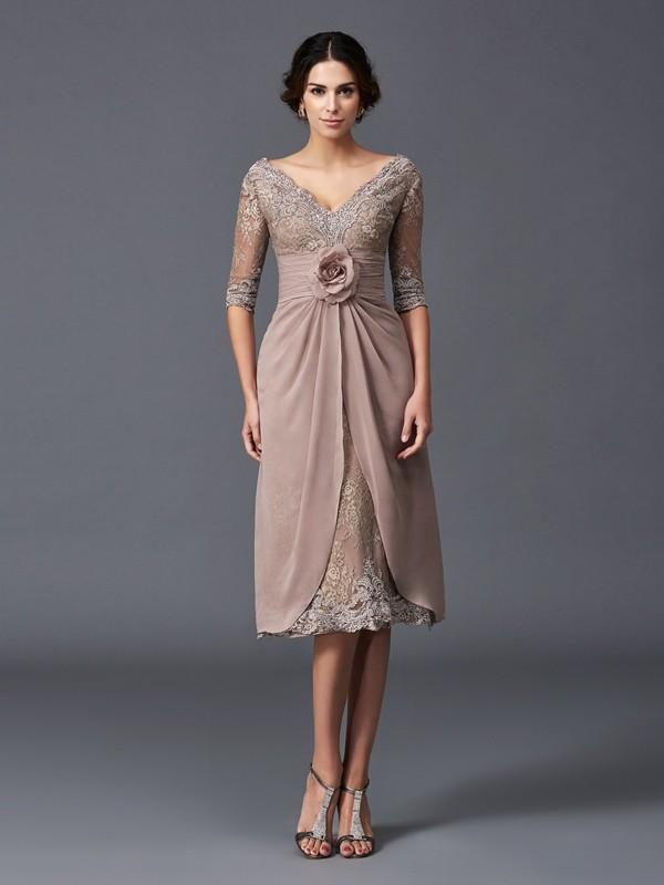Tea-Length A-Line/Princess V-neck 1/2 Sleeves Hand-Made Flower Lace Mother of the Bride Dresses