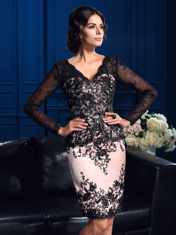 Short/Mini Sheath/Column V-neck Long Sleeves Applique Lace Mother of the Bride Dresses
