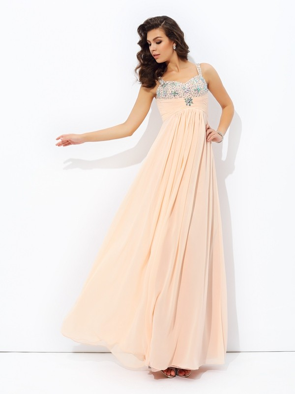 Floor-Length A-Line/Princess Spaghetti Straps Sleeveless Beading Chiffon Dresses