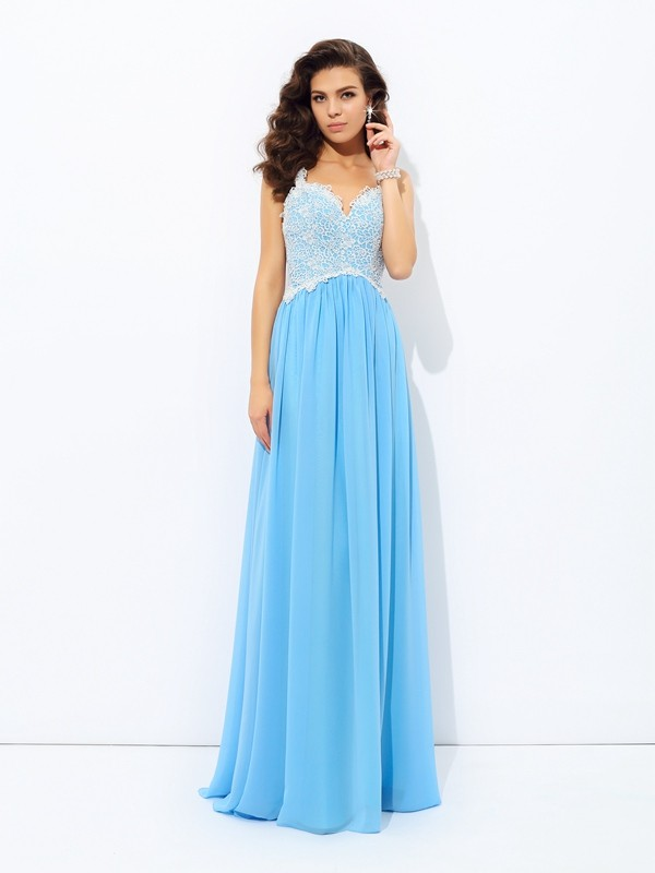 Floor-Length A-Line/Princess V-neck Sleeveless Lace Chiffon Dresses