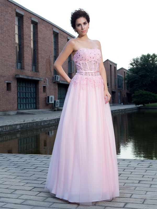 Floor-Length A-Line/Princess Straps Sleeveless Applique Net Dresses