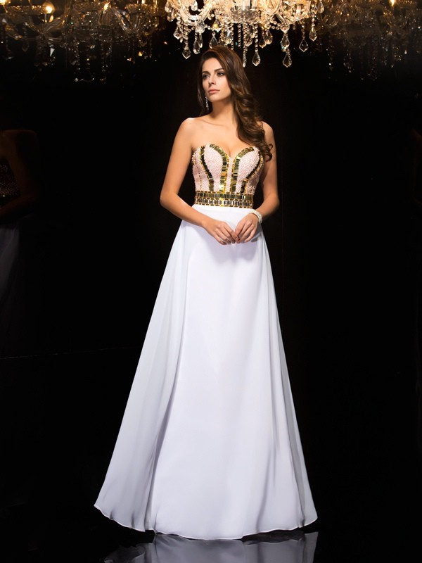 Floor-Length A-Line/Princess Sweetheart Sleeveless Sequin Chiffon Dresses