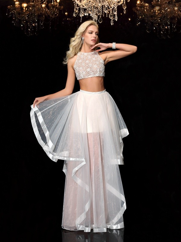 Floor-Length A-Line/Princess Scoop Sleeveless Applique Tulle Dresses