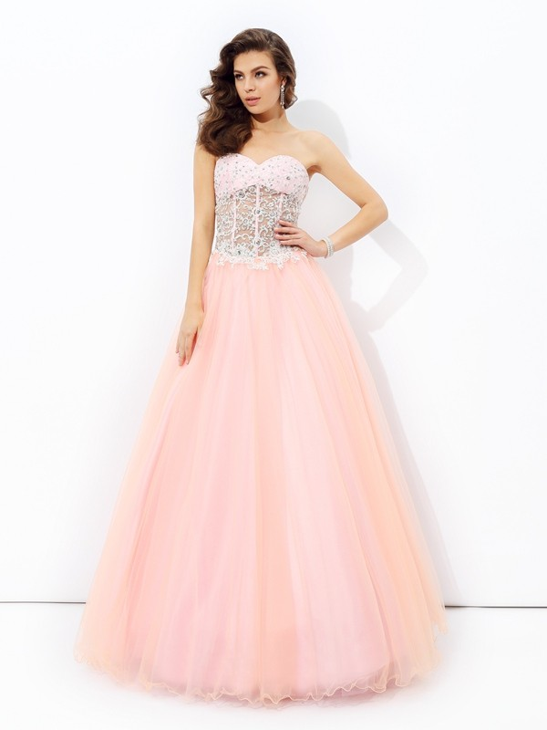 Floor-Length A-Line/Princess Sweetheart Sleeveless Lace Net Dresses