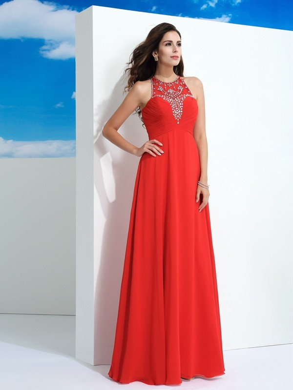 Floor-Length A-Line/Princess Sheer Neck Sleeveless Beading Chiffon Dresses