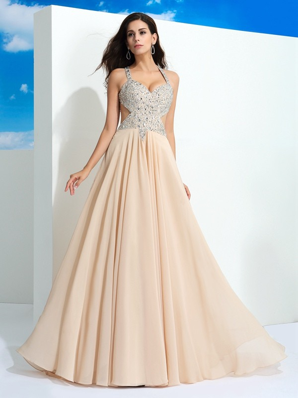 Sweep/Brush Train A-Line/Princess Straps Sleeveless Beading Chiffon Dresses
