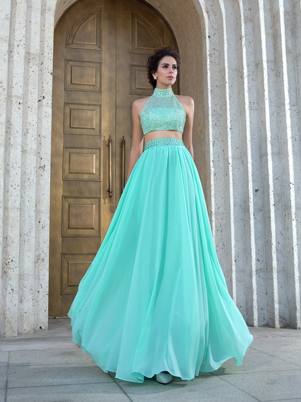 Floor-Length A-Line/Princess High Neck Sleeveless Beading Chiffon Dresses
