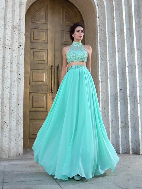 Floor-Length A-Line/Princess High Neck Sleeveless Beading Chiffon Dresses