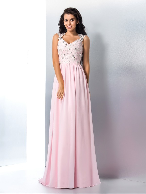 Sweep/Brush Train A-Line/Princess V-neck Sleeveless Applique Chiffon Dresses