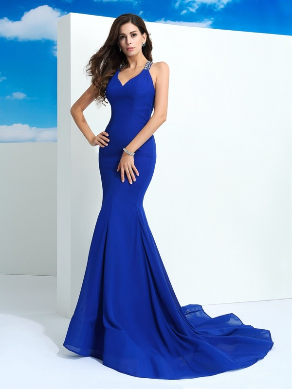 Court Train Sheath/Column Straps Sleeveless Beading Chiffon Dresses