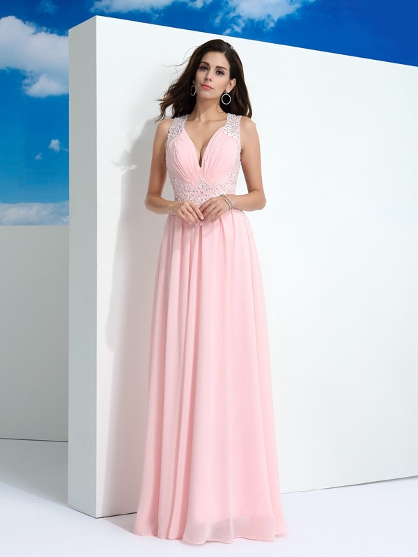 Floor-Length A-Line/Princess Straps Sleeveless Beading Chiffon Dresses