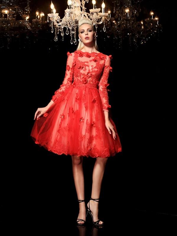 Short/Mini A-Line/Princess Sheer Neck 3/4 Sleeves Applique Net Dresses