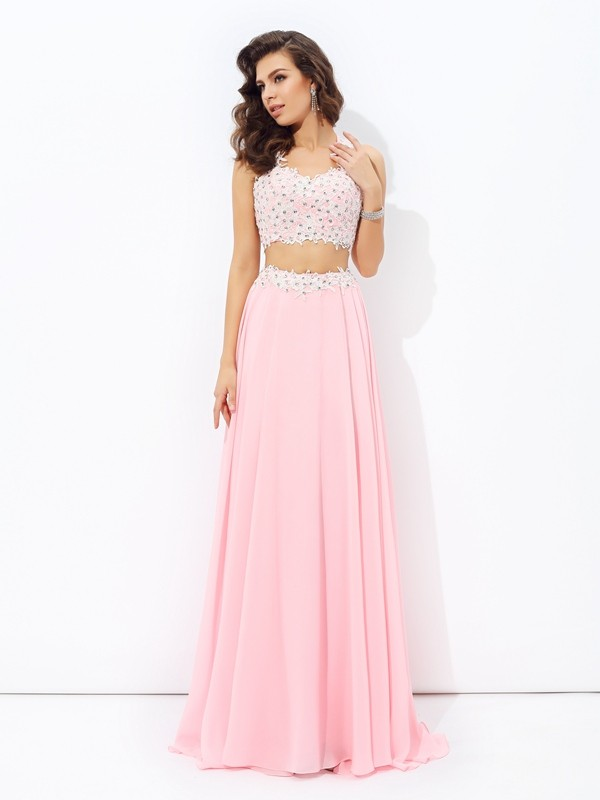 Floor-Length A-Line/Princess Straps Sleeveless Applique Chiffon Dresses