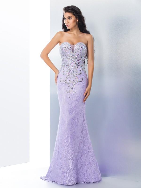 Sweep/Brush Train Trumpet/Mermaid Sweetheart Sleeveless Beading Lace Dresses