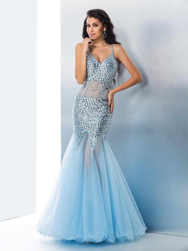 Floor-Length Trumpet/Mermaid Spaghetti Straps Sleeveless Sequin Tulle Dresses