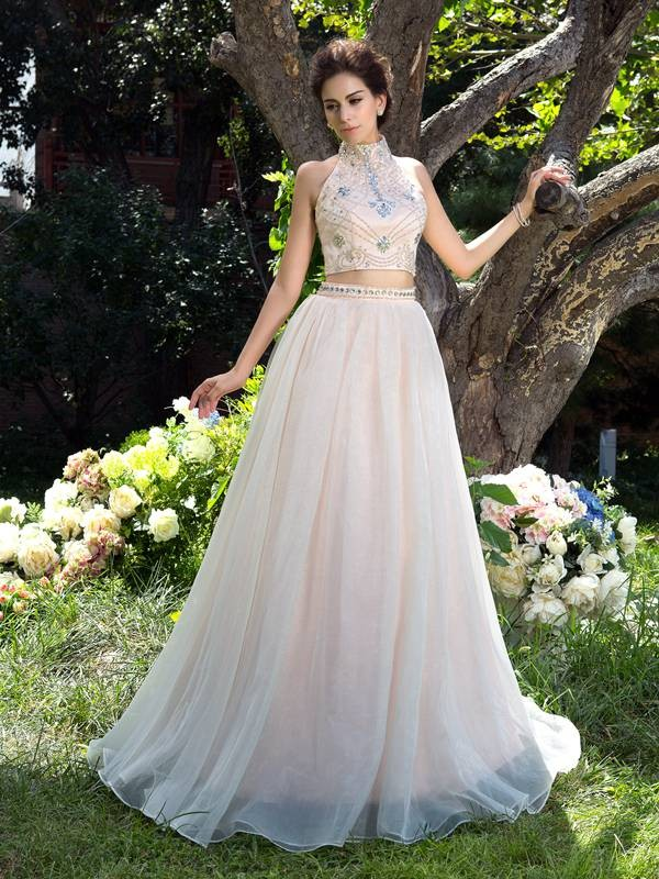 Sweep/Brush Train A-Line/Princess High Neck Sleeveless Beading Net Dresses