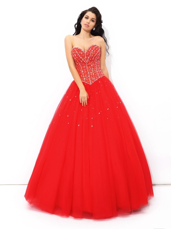 Floor-Length Ball Gown Sweetheart Sleeveless Beading Net Dresses