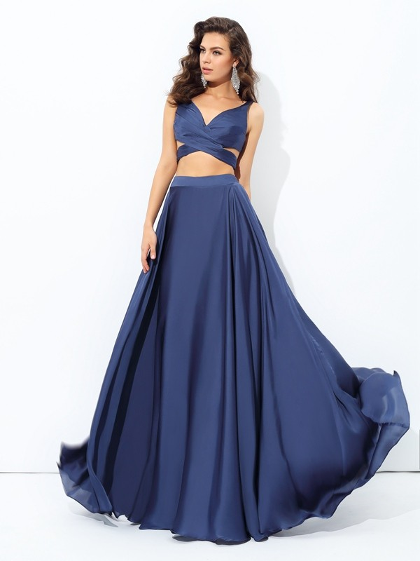 Floor-Length A-Line/Princess Straps Sleeveless Other Satin Chiffon Dresses
