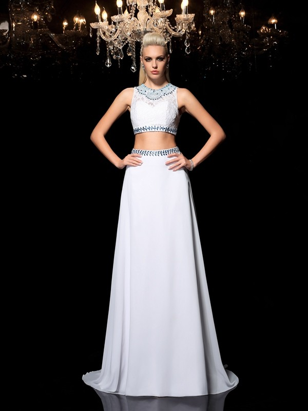 Floor-Length A-Line/Princess Jewel Sleeveless Beading Chiffon Dresses