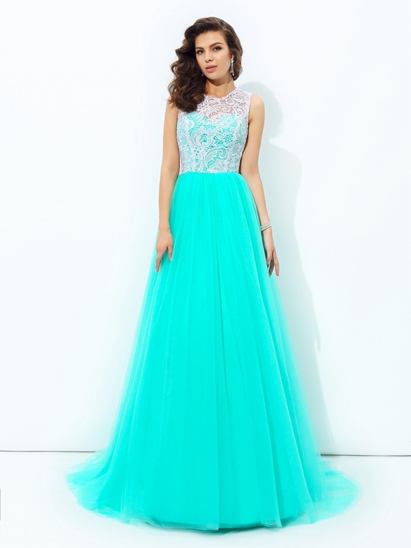 Sweep/Brush Train A-Line/Princess Scoop Sleeveless Lace Net Dresses