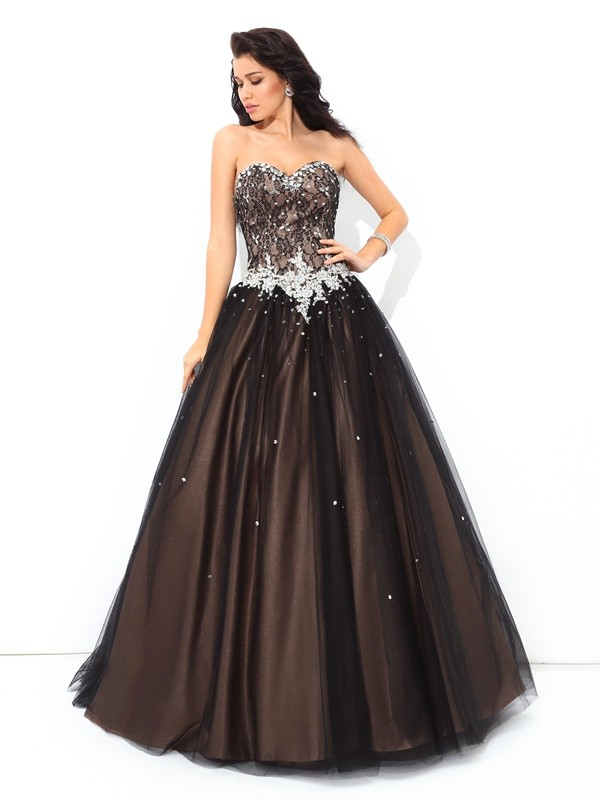 Floor-Length Ball Gown Sweetheart Sleeveless Beading Net Dresses