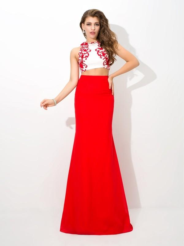 Floor-Length Sheath/Column High Neck Sleeveless Applique Chiffon Dresses