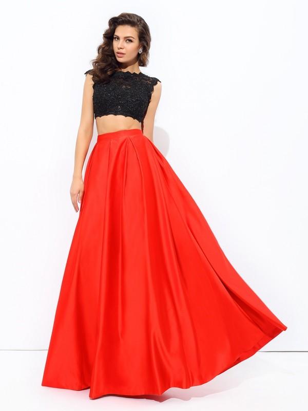 Floor-Length A-Line/Princess Scoop Sleeveless Lace Satin Dresses