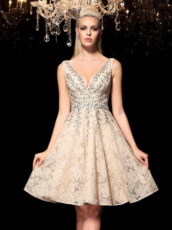 Short/Mini A-Line/Princess V-neck Sleeveless Beading Lace Dresses