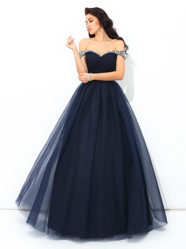 Floor-Length Ball Gown Off-the-Shoulder Sleeveless Beading Net Dresses