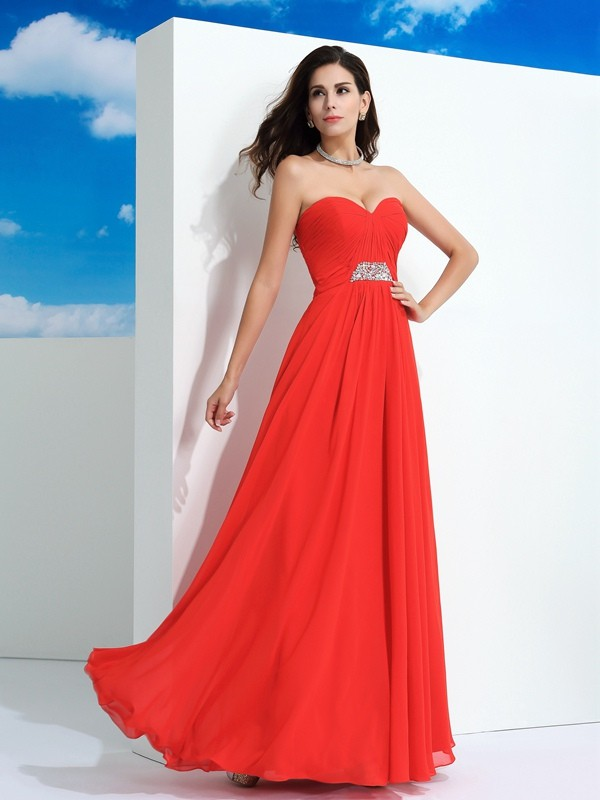 Floor-Length A-Line/Princess Sweetheart Sleeveless Beading Chiffon Dresses