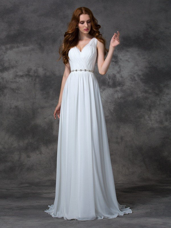 Sweep/Brush Train A-Line/Princess V-neck Sleeveless Beading Chiffon Dresses