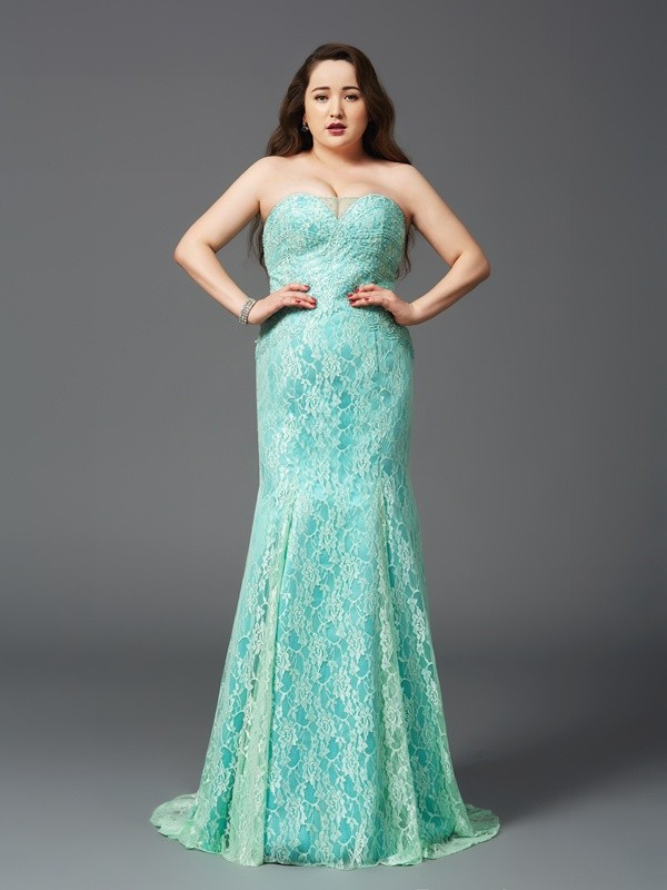 Court Train Sheath/Column Strapless Sleeveless Lace Satin Dresses