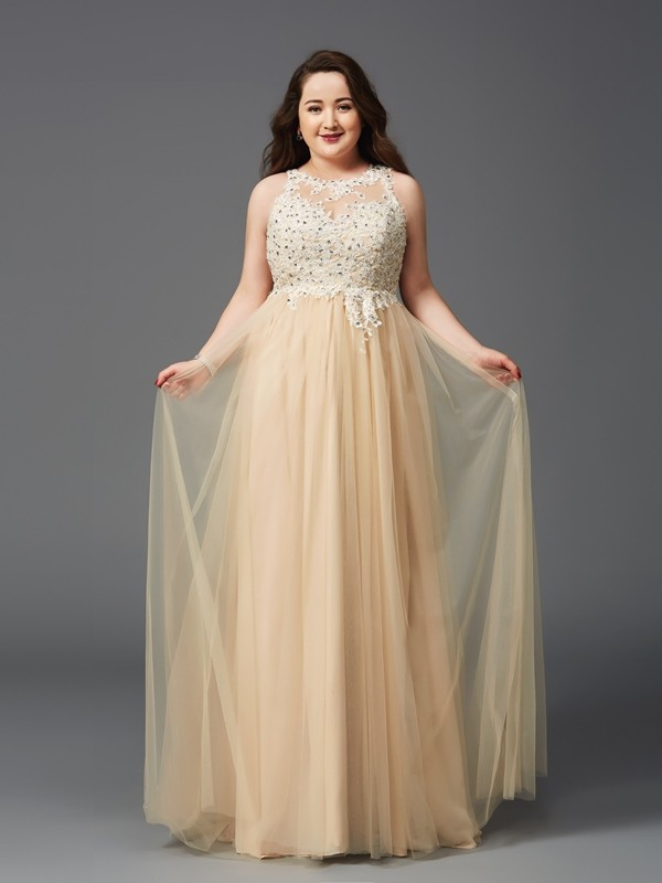 Floor-Length A-Line/Princess Scoop Sleeveless Rhinestone Net Dresses