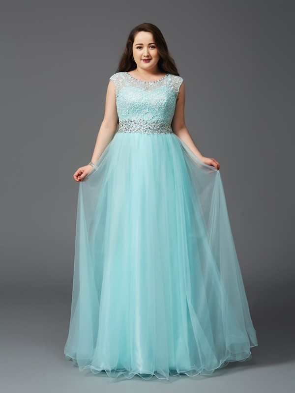 Floor-Length A-Line/Princess Scoop Sleeveless Rhinestone Elastic Woven Satin Dresses