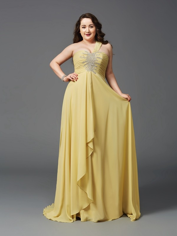 Sweep/Brush Train A-Line/Princess One-Shoulder Sleeveless Rhinestone Chiffon Dresses