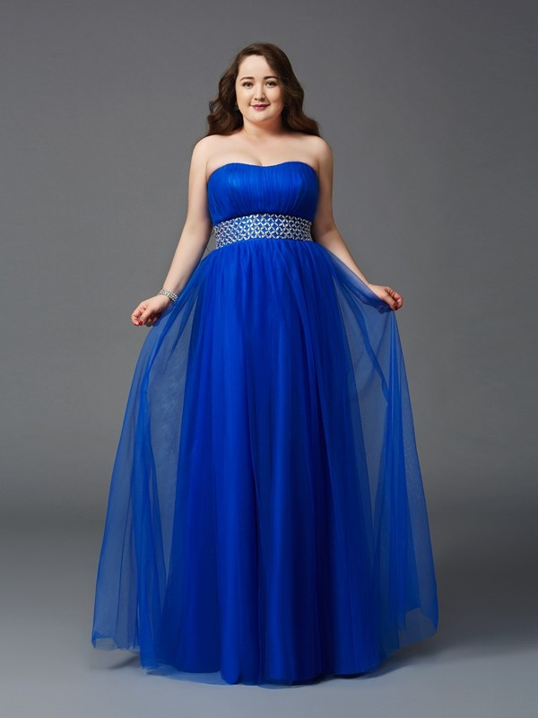 Floor-Length A-Line/Princess Strapless Sleeveless Rhinestone Net Dresses