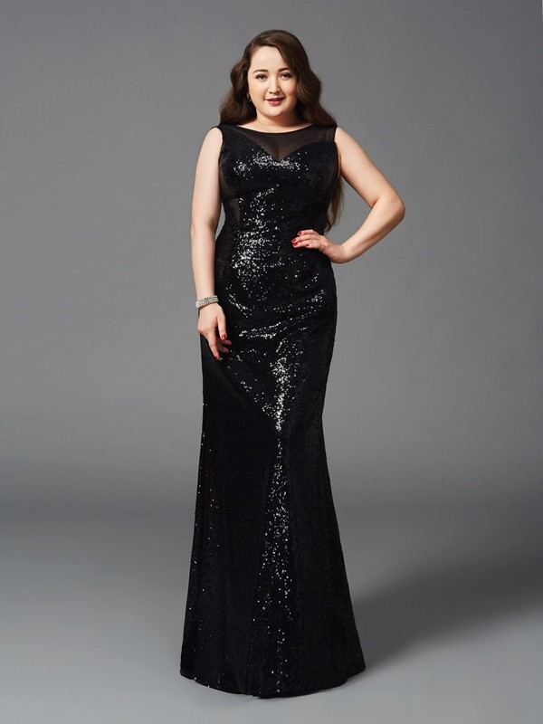 Floor-Length Sheath/Column Scoop Sleeveless Other Sequins Dresses