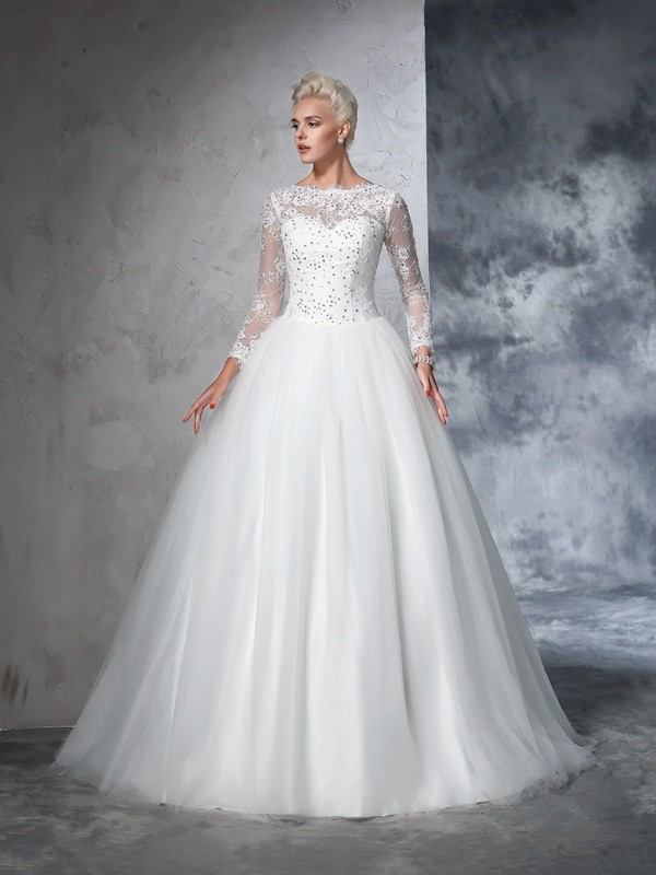 Sweep/Brush Train Ball Gown Bateau Long Sleeves Lace Net Wedding Dresses