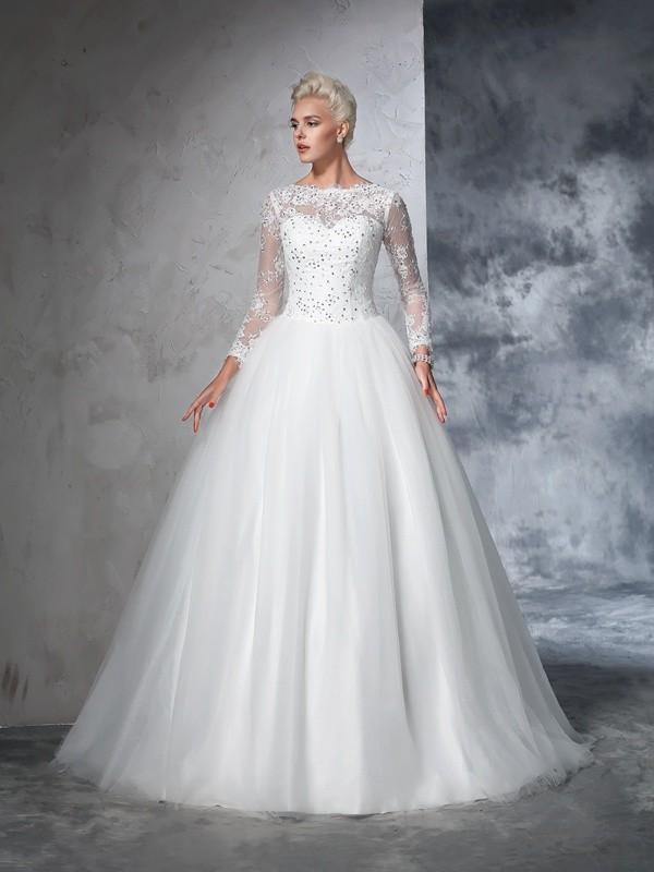 Sweep/Brush Train Ball Gown Bateau Long Sleeves Lace Net Wedding Dresses