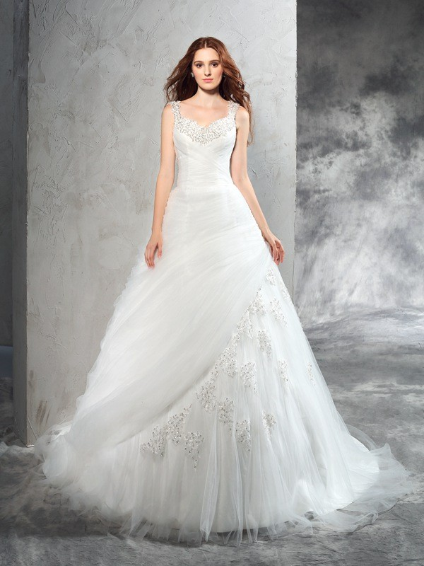 Court Train Ball Gown Straps Sleeveless Applique Net Wedding Dresses