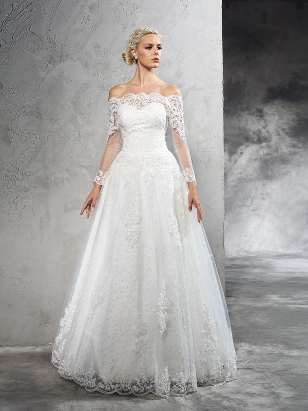 Floor-Length Ball Gown Off-the-Shoulder Long Sleeves Lace Net Wedding Dresses