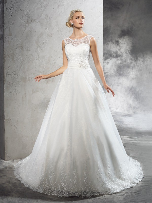 Court Train Ball Gown Sheer Neck Sleeveless Sash/Ribbon/Belt Net Wedding Dresses