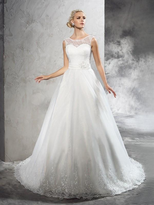 Court Train Ball Gown Sheer Neck Sleeveless Sash/Ribbon/Belt Net Wedding Dresses