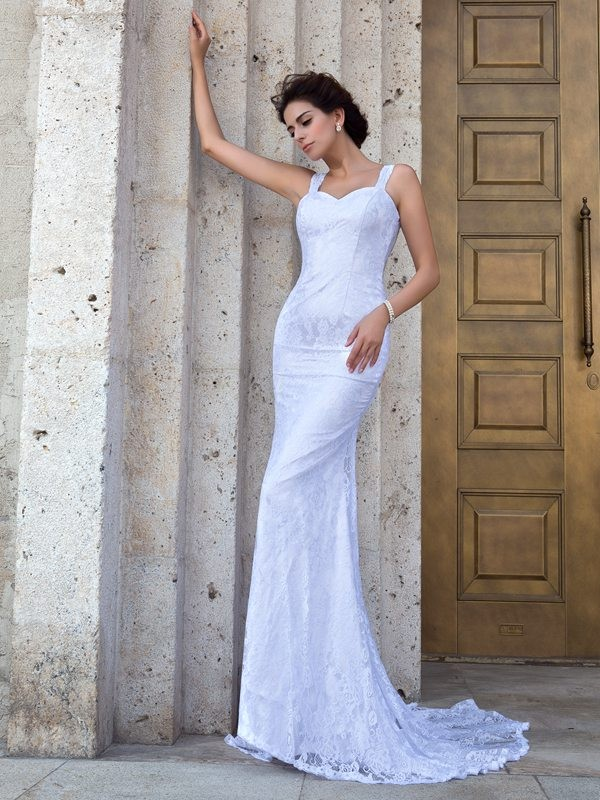 Court Train Sheath/Column Straps Sleeveless Lace Wedding Dresses