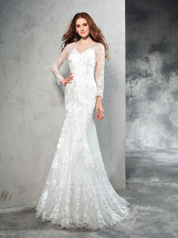 Sweep/Brush Train Sheath/Column Sheer Neck Long Sleeves Lace Net Wedding Dresses