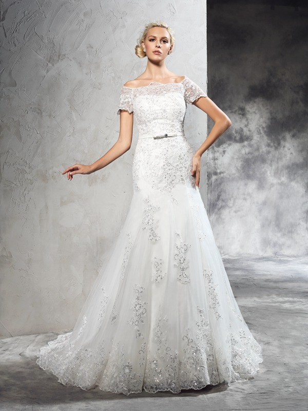 Court Train Sheath/Column Off-the-Shoulder Short Sleeves Applique Net Wedding Dresses