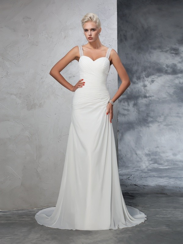 Court Train Trumpet/Mermaid Straps Sleeveless Ruched Chiffon Wedding Dresses